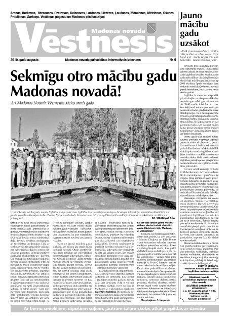 Novada vēstnesis 2010. gada augusts - Madona.lv