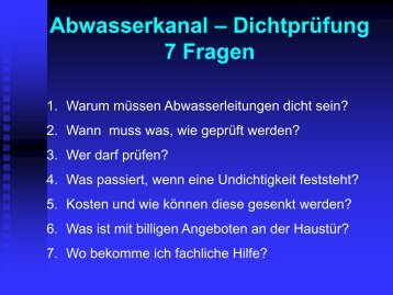 Abwasserkanal – Dichtprüfung 7 Fragen - beim Siedlerbund-NRW