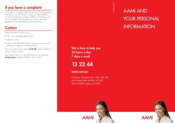 AAMI AND YOUR PERSONAL INFORMATION