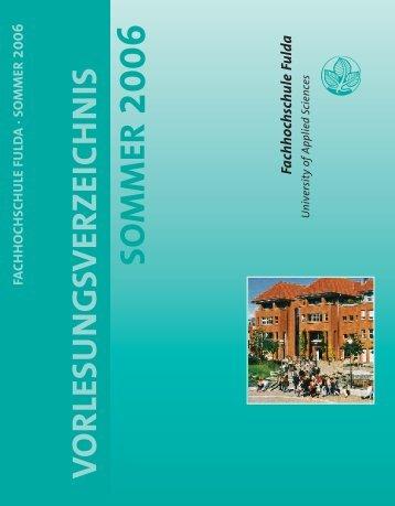 V O R LESU NGSVERZEIC H N IS SO MMER - Hochschule Fulda