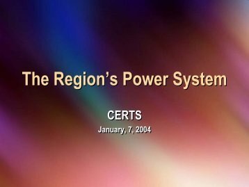 The Region's Power System - Clean Energy Resource Teams
