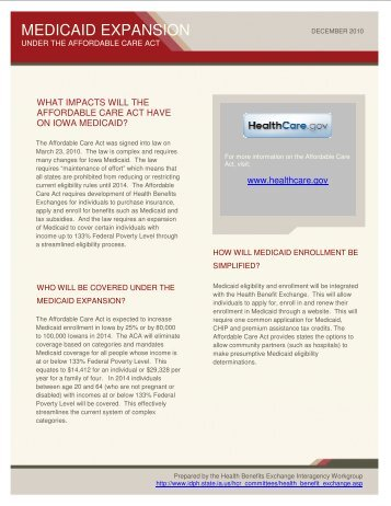 HBE Whitepaper- Medicaid Expansion Under the ACA