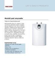Technické detaily a varianty produktů
