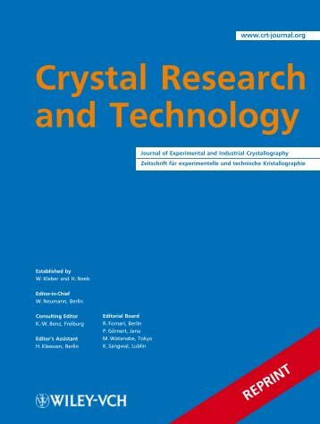 N. Kalanda, S. Demyanov, W. Masselink, et al. Cryst. Res. Technol ...