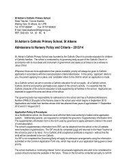 Admissions to Nursery - St. Adrian's Catholic Primary School