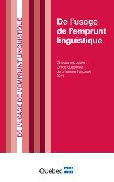 De l'usage de l'emprunt linguistique - Office québécois de la langue ...