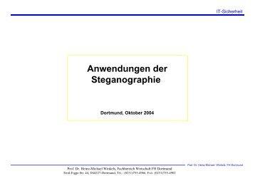 Anwendungen der Steganographie - Prof. Dr. Heinz-Michael Winkels