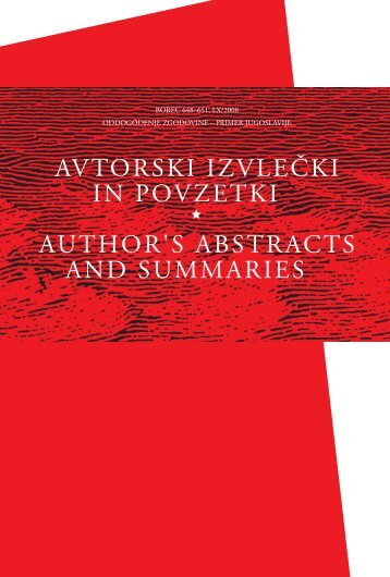 AVTORSKI IZVLEČKI IN POVZETKI AUTHOR'S ABSTRACTS AND ...