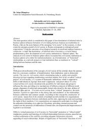 Dr. Irina Olimpieva Centre for Independent Social Research, St ...