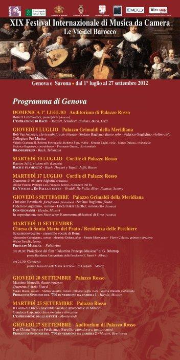 XIX festival Internazionale di Musica da Camera Le Vie del Barocco ...
