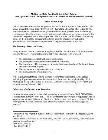 Qualified Offer Article May 2010 - Convicer Percy & Green LLP
