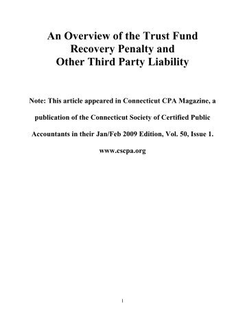 Trust Fund Recovery Penalty Article - Convicer Percy & Green LLP
