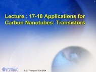 Lecture : 17-18 Applications for Carbon Nanotubes: Transistors