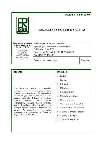 DER/PR ES-D 01/05 DRENAGEM: SARJETAS E VALETAS