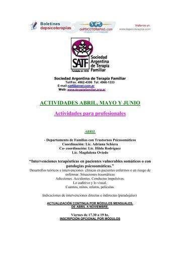 ACTIVIDADES ABRIL, MAYO Y JUNIO Actividades para profesionales