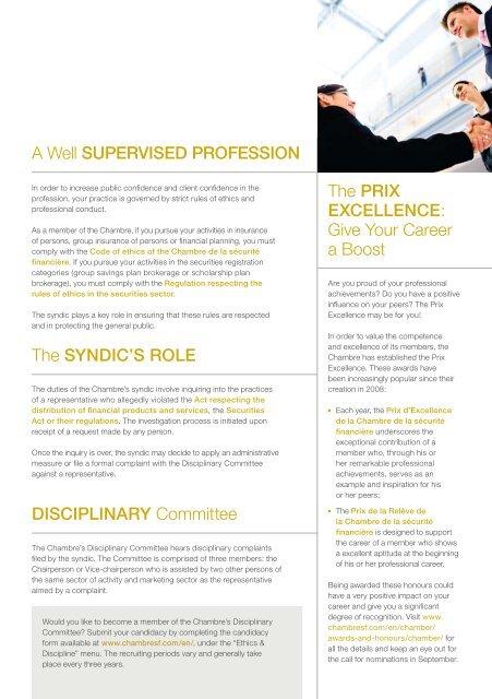 Corporative booklet - Chambre de la sécurité financière