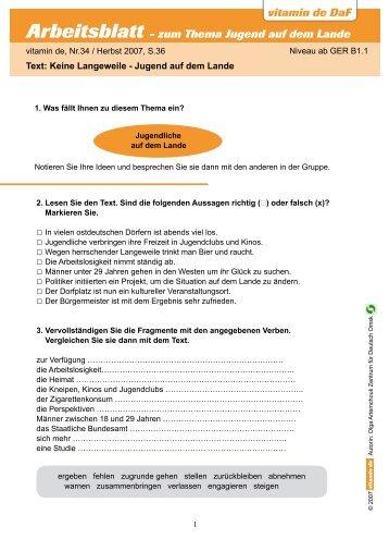 vitamin de DaF Arbeitsblatt - zum Thema Jugend auf dem Lande ...