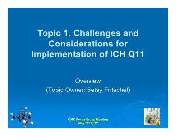 Topic 1. Challenges and Considerations for Implementation of ICH ...