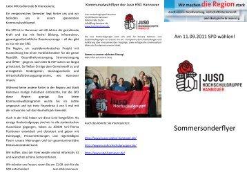 Sommersonderflyer - Jusos Hochschulgruppe Hannover