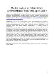 Walter Eucken on Patent Laws - Economic Thought Paper Review