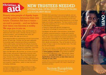 NEW TRUSTEES NEEDED - Christian Aid