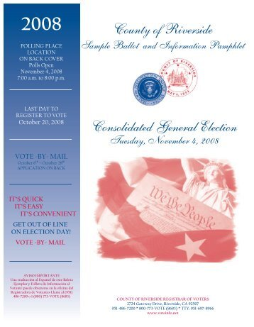 Sample Ballot - Riverside County Registrar of Voters