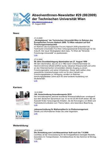 AbsolventInnen-Newsletter #29 (08/2009) der ... - TUalumni