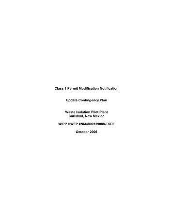 Class 1 RCRA Permit Modification, Update Contingency Plan ...