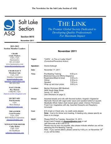 Events Calendar - ASQ Salt Lake City