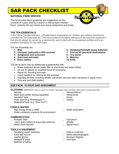 Starter Checklist Pdf