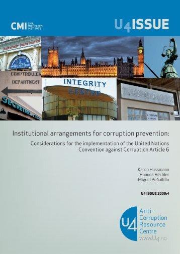 Institutional arrangements for corruption prevention - CMI