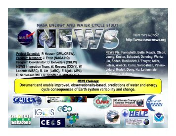 Water & Energy Cycle Prediction - NEWS (The NASA Energy and ...