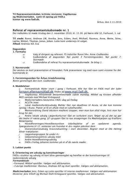 Referat af repræsentantskabsmøde 1 november - fadl.dk
