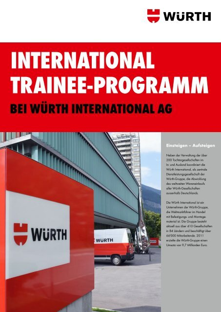 InternatIonal traInee-Programm - Würth International AG
