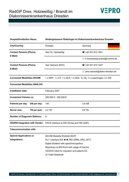 2007 - Dresden - Radiologie - Vepro