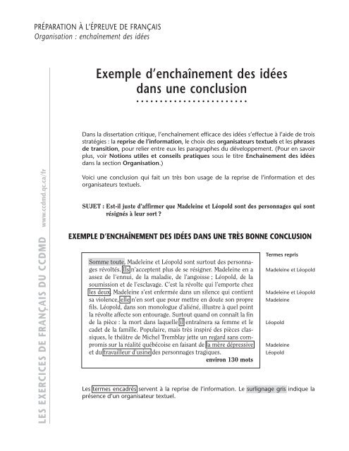 Dissertation critique exemple conclusion