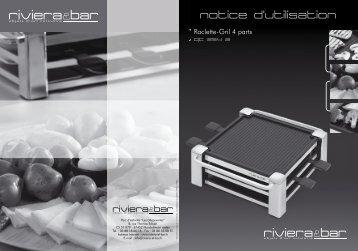 Notice d'utilisation - Raclette-Gril 4 parts - QC 254 A - Riviera et Bar