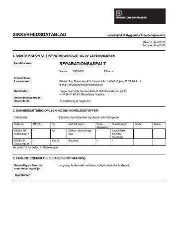 Reparationsasfalt - Produkt nr. 1009-001 - Phønix Tag Materialer
