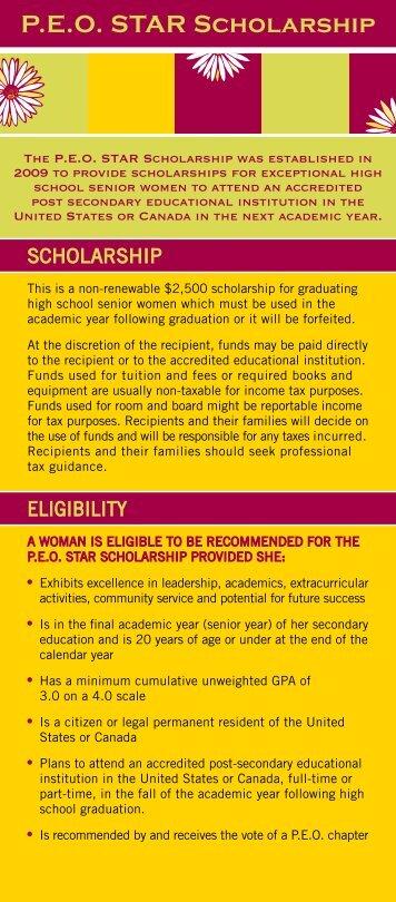 P.E.O. STAR Scholarship Information Card - PEO International