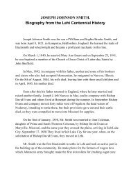 JOSEPH JOHNSON SMITH. Biography from the Lehi ... - Lehi City