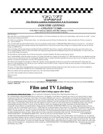 Film and TV Listings - Taxi