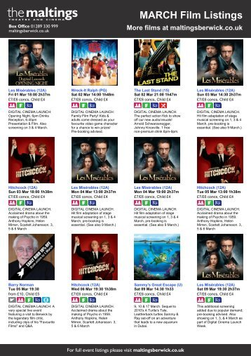 MARCH Film Listings More films at maltingsberwick ... - The Maltings