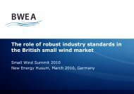 The role of robust industry standards in the British small wind market