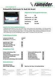 Einbauhilfe Elektrosatz für Audi A4 Avant