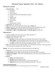 iPad Faculty Training – September 1, 2011 – 1:30 – 3:00 p.m.