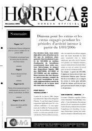 Sommaire - Fédération Horeca Wallonie