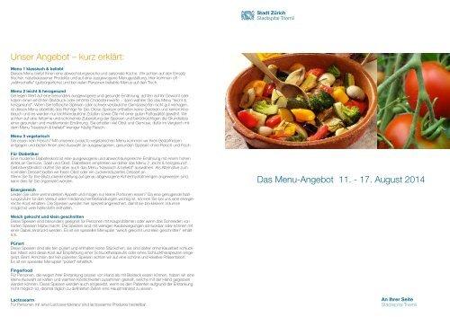 Das Menu-Angebot 12. - 18. August 2013