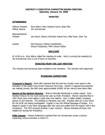 DISTRICT V EXECUTIVE COMMITTEE BOARD ... - ACBL District 5
