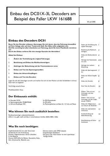 Einbau des DC01-Decoders in einen Faller LKW - Modelleisenbahn ...