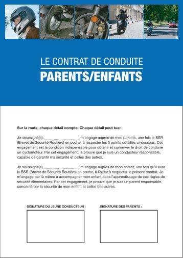 Le contrat de conduite parents/enfants - Motoservices